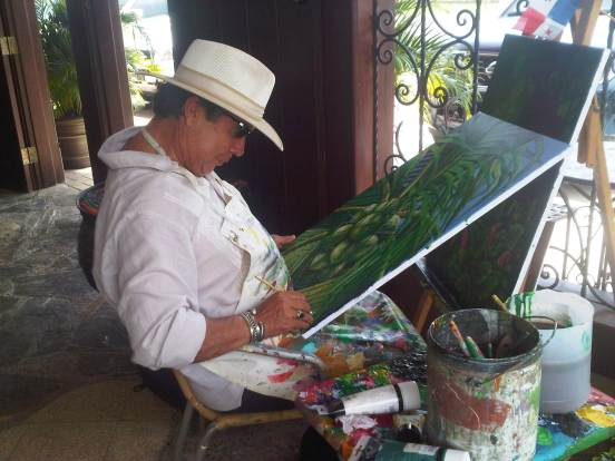Chantal signing our new painting at Chacho's Grill, Coronado, Panama